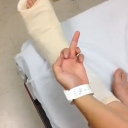 Pic from a sweet Vine that Shawn made while I was getting my cast on